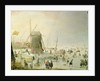 A winter scene with skaters by a windmill by Hendrik Avercamp