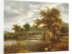 A wooded river landscape with a sluice gate by Jacob Isaaksz. or Isaacksz. van Ruisdael