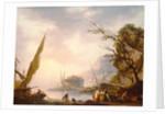 A southern coastal scene by Charles Francois Lacroix de Marseille