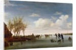 Dutch landscape with Skaters by Salomon van Ruisdael or Ruysdael
