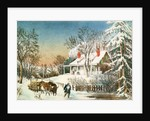 Bringing Home the Logs, Winter Landscape by N. and Ives