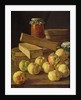 Still life with apples, pots of jam and boxes of cake by Luis Egidio Melendez