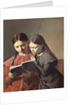 The Artist's Sisters Signe and Henriette Reading a Book by Carl-Christian-Constantin Hansen
