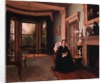Victorian interior with seated lady by Charles Frederick Lowcock