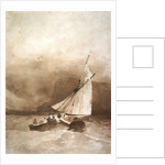 A Sailing-vessel and a Rowing-boat in rough seas off Beachy Head, Sussex by Richard Parkes Bonington