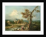 An Italianate River Landscape with Travellers by Francesco Zuccarelli