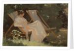 The artist's wife sitting in a garden chair at Skagen by Peder Severin Kroyer