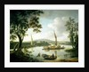 View of the Thames from Keen Edge Ferry, Shillingford - Looking across to Dorchester and the Sinodun Hills by John Thomas Serres