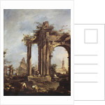 Capriccio with Roman Ruins, a Pyramid and Figures by Francesco Guardi