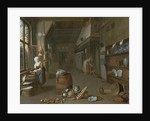 Kitchen interior with two maids preparing food by Gillis de Winter