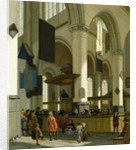 Interior of the Oude Kerk, Delft, with a preacher by A. & Streeck