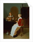 An interior with a lute player and a woman holding a parrot by Quiringh Gerritsz. van Brekelenkam