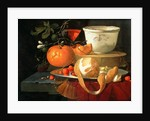 Still life of an orange, a lemon and strawberry on a pewter plate, a wan-li bowl behind by Elias van den Broeck