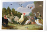 Wooded Landscape with a Cock, Turkey, Hens and other Birds by Jan van