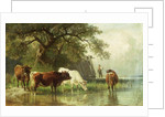 Cattle Watering in a River Landscape by Friedrich Johann Voltz