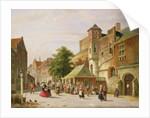 A Street Scene in Amsterdam by Adrianus Eversen