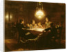 Family supper in the lamp light by Knut Ekvall