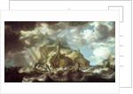 Dutch shipping in heavy seas by Bonaventura Peeters