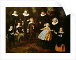 Group portrait of three generations of a family in the grounds of a country house by Dirck Santvoort