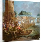 Canal scene with wine merchant unloading barrels by Jan-Anton Garemyn