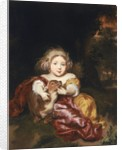 Girl Caressing a Fawn by Nicolaes Maes