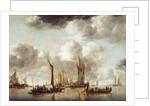 A Dutch Yacht Firing a Salute as a Barge Pulls Away by Jan van de Capelle or Cappelle