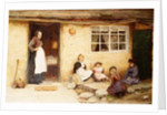 Children playing Dice by a Cottage by English School