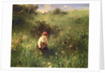 A Young Girl in a Field by Ludwig Knaus