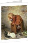 Little Girl with a Rabbit by Hermann Kaulbach