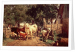 A Farmyard Scene by Eduard Weichberger