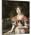Portrait of a Lady Wearing a Red and White Dress by Matthys Naiveu