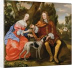 Portrait of a Gentleman and his Wife Holding an Arrow, Seated with their Dog by Jan Mytens