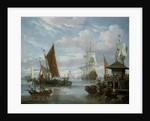 Estuary Scene with Boats and Fisherman by Johannes de Blaauw