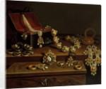 Casket of jewels on a table, principally of German Origin by Pieter Gerritsz. van Roestraten