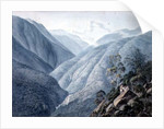 View from Murichon, looking northwards up the channel of the Teenchoo, on the road to Tacissudon, Bhutan by Samuel Davis