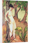 Nude Standing Against a Tree by Otto Muller or Mueller