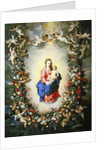 The Virgin and Child encircled by a garland of flowers held aloft by cherubs by Jan & Balen