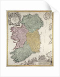 Map of Ireland showing the Provinces of Ulster, Munster, Connaught and Leinster by Johann Baptista Homann