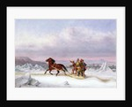 Crossing the St. Lawrence from Levis to Quebec on a Sleigh by Cornelius Krieghoff
