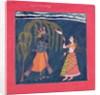 Krishna playing a flute by Pahari School