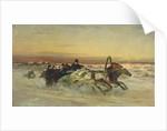 A Galloping Winter Troika at Dawn by Nikolai Egorevich Sverchkov
