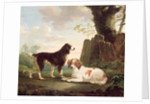 Two spaniels in a landscape by Charles Towne