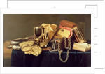 Still Life of a Jewellery Casket, Books and Oysters by Andries Vermeulen