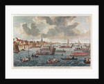 View of Gravesend with troops crossing the Thames to Tilbury Fort by English School