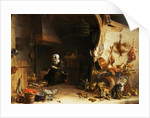A Kitchen Interior with a Servant Girl Surrounded by Utensils, Vegetables and a Lobster on a Plate by Cornelis van Lelienbergh