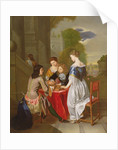 Elegant Company playing backgammon by Nicolaes Verkolje