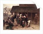 The Market Place of Ploudalmezeau, Brittany by Leon Augustin Lhermitte