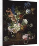 A Still Life of Roses, Tulips, Carnations, Stocks and Other Flowers in a Decorative Urn, Resting on a Stone Ledge by Jean-Louis Prevost