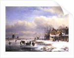 Snow Scene with Windmills in the Distance by Lodewijk Johannes Kleyn