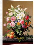 Still Life with Flowers and Fruit by V. Hoier